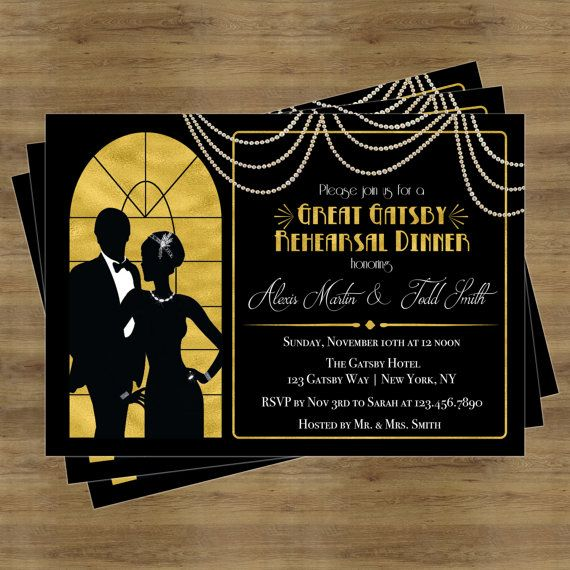 Great Gatsby Invitation Rehearsal Dinner Printable