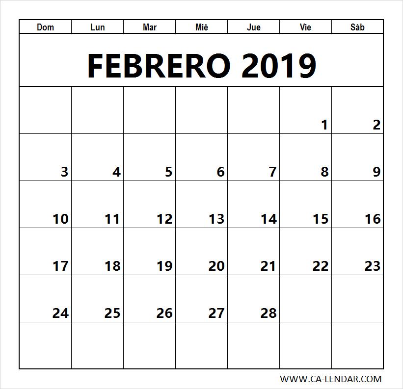 Febrero 2019 Calendario.Febrero 2019 Calendario Para Imprimir Tips Calendario Para