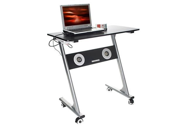 This Computer Desk Comes With Built In Speakers A Usb Hub And A Laptop Cooling Fan Compact Computer Desk Desk Computer Desk
