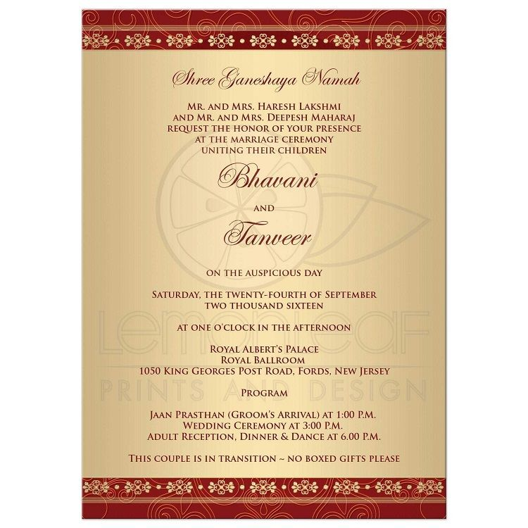 Wedding Reception Invitation India Card Ideas