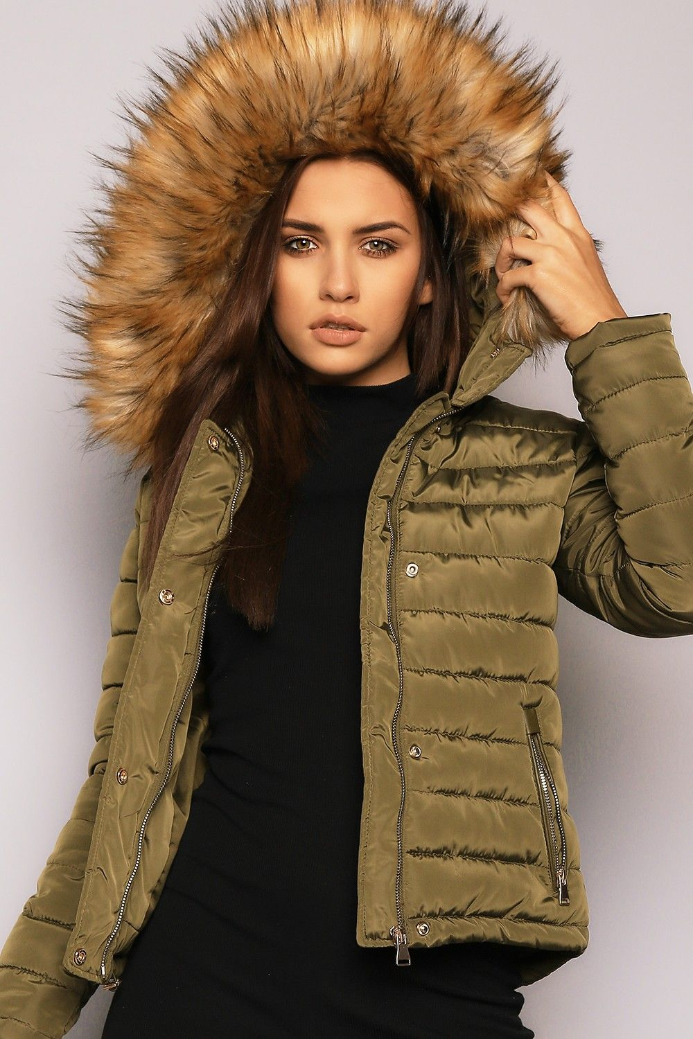 Back To My Padded Jacket Khaki - Faux Fur - Shop by Trend ...
