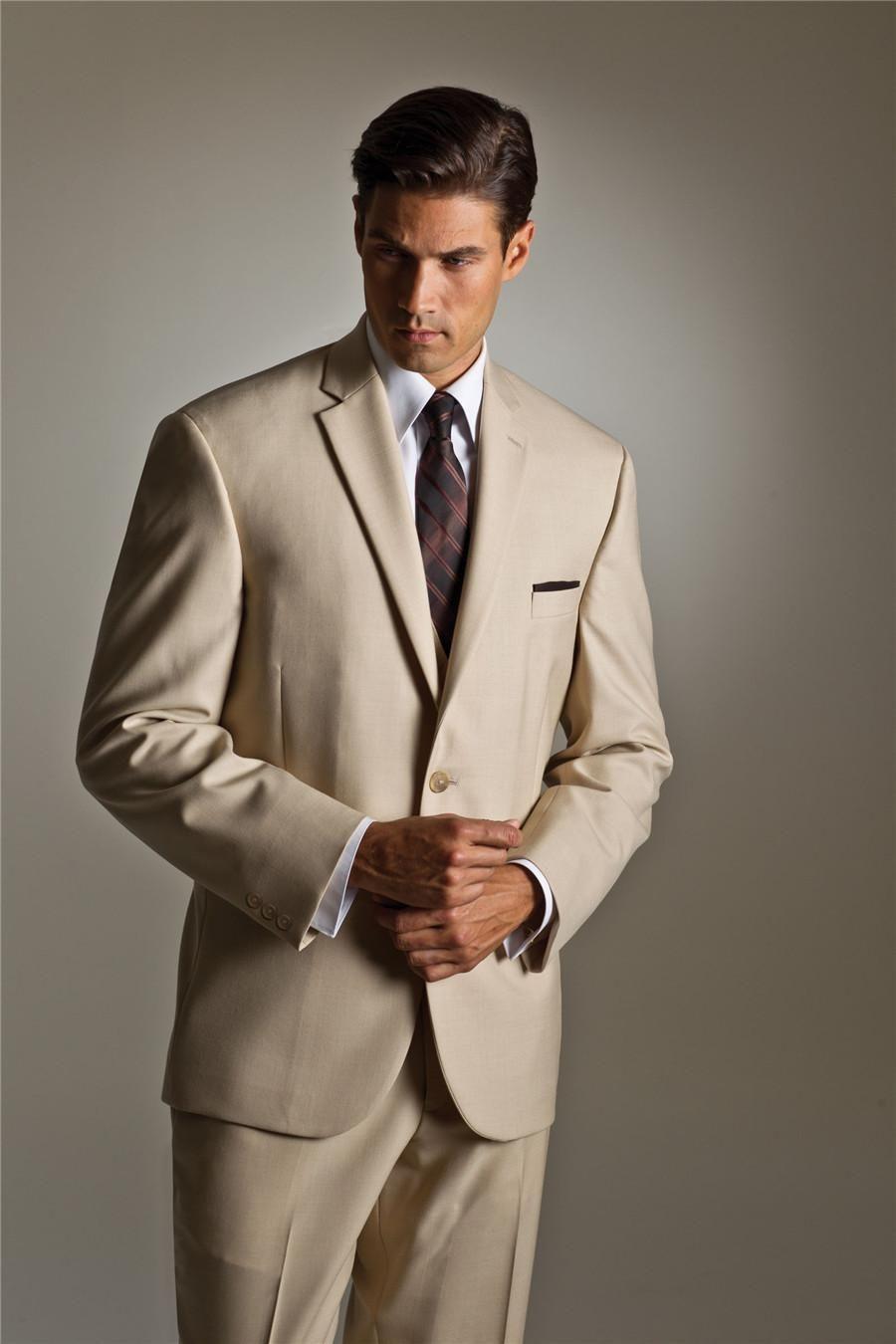 Click to Buy << Custom Made Simple Beige Groom Tuxedos Groomsman ...
