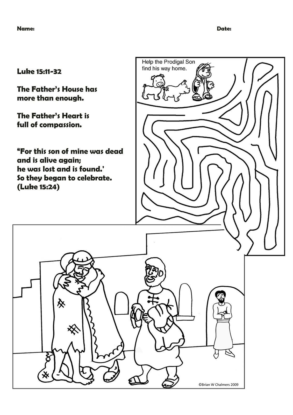 Parable Of The Lost Sons Prodigal Son Prodigal Coloring Pages