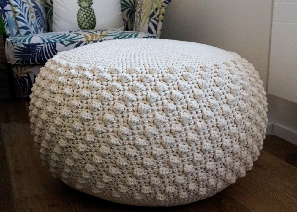 Bobbles Ottoman Crochet Pattern By Iswoolish Crochet Pouf