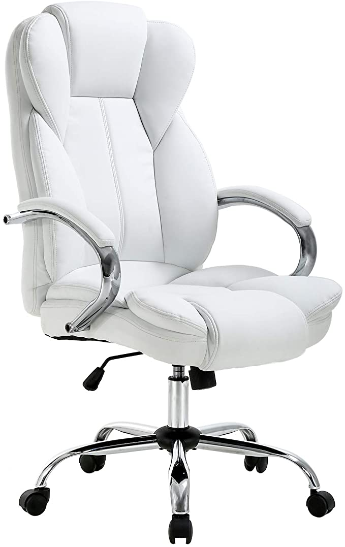Amazon Com Ergonomic Office Chair Desk Chair Pu Leather Computer Chair Executive Adjustable Cheap Office Chairs White Office Chair White Leather Office Chair