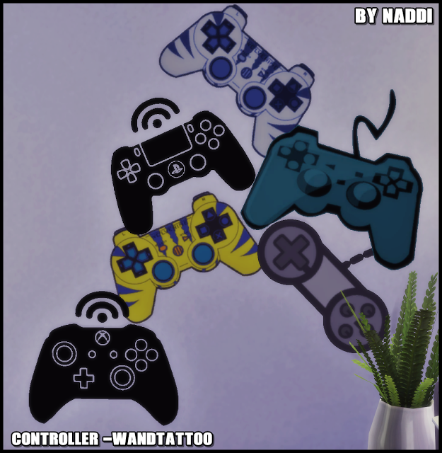Sims 4 CC's - The Best: Walltattoos Gaming Controller by