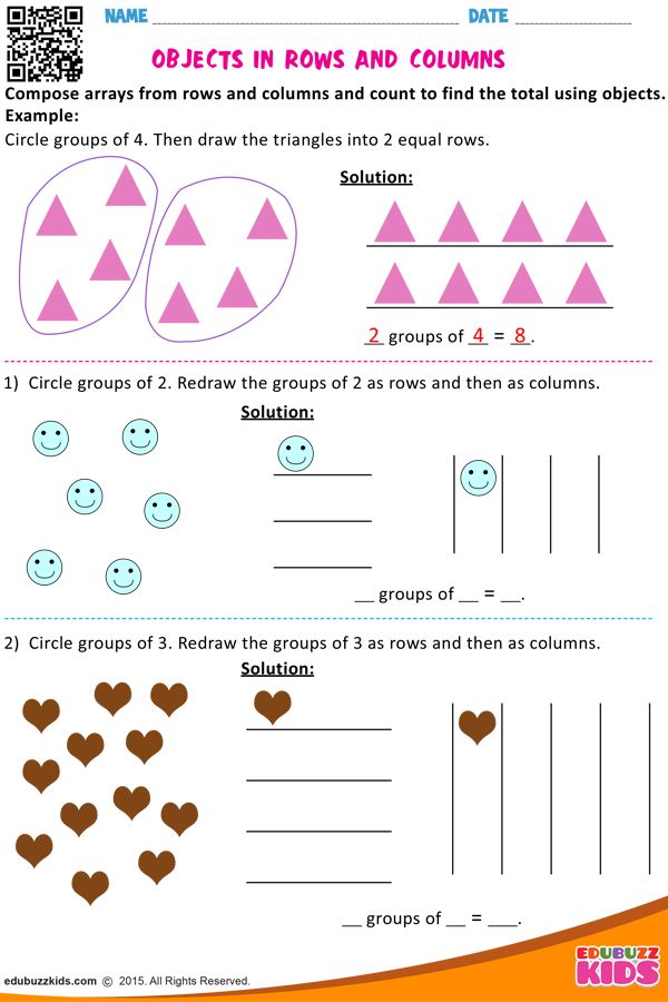 Objects In Rows And Columns Array Worksheets Math Multiplication Worksheets Multiplication Worksheets