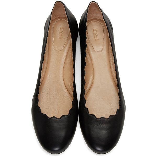 Chloé Black Lauren Ballerina Flats ($470) ❤ liked on Polyvore featuring shoes, flats, black round toe flats, ballet flats, ballerina flat shoes, black flats and ballerina flats