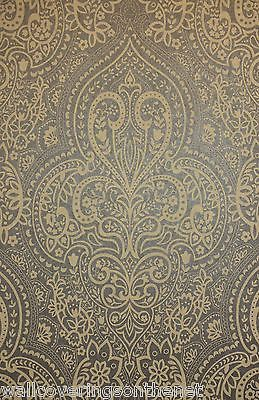 Paste The Wall Indian Asian Inspired Damask Wallpaper In Brown Gold