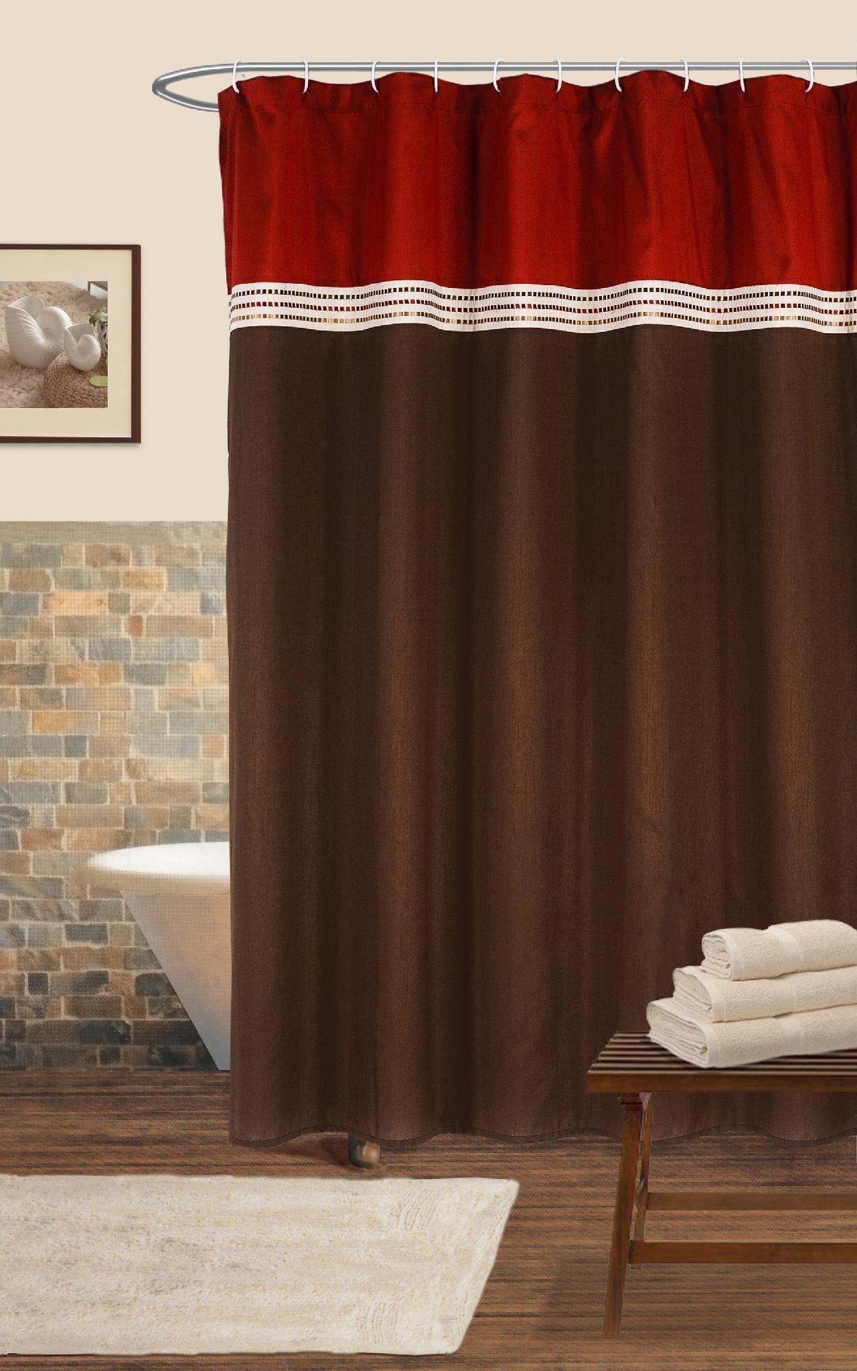 Lush Decor Terra Shower Curtain Red