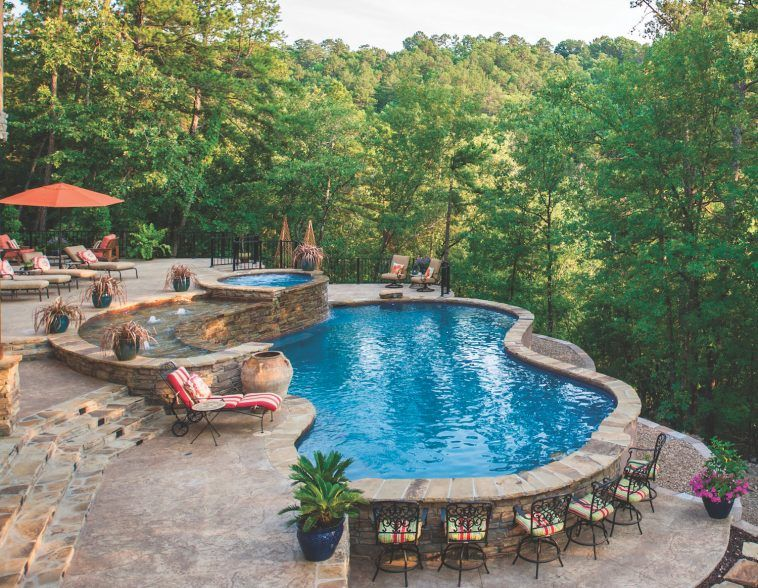 Elite Pools By Aloha Luxury Pools Backyard Sloped Backyard Small Backyard Pools