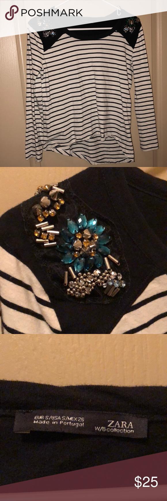 6087c6906f6d6 Zara - Oblong Gem Embroidered Blouse Zara Gem embroidered Oblong Long  Sleeve Blouse. Never worn. No tags. Zara Tops Blouses