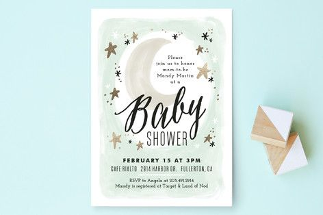 Moonlit Baby Shower Invitations by Alethea and Ruth at mintedcom
