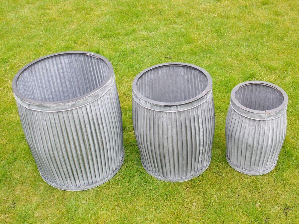 Details About Set X 3 Galvanized Metal Garden Dolly Tub Planters Flower Planter Pots Pot Box Garden Planters Pots Flower Pot Garden Metal Barrel
