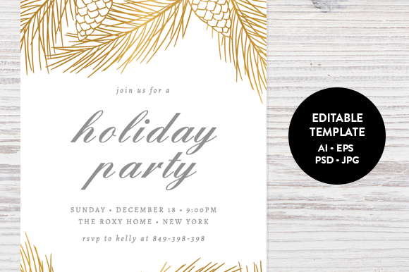 Holiday party invitation template by pixejoo on creative market holiday party invitation template by pixejoo on creative market stopboris Choice Image