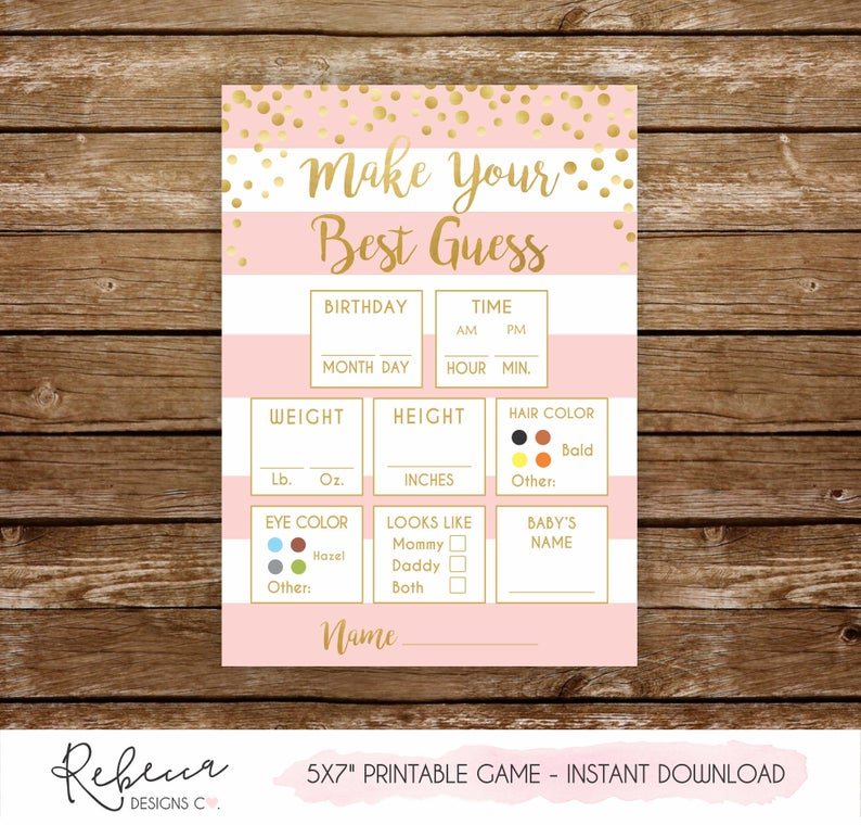Guess The Baby S Weight Baby Predictions Game Printable Etsy In 2020 Baby Shower Guessing Game Baby Prediction Baby Shower Games