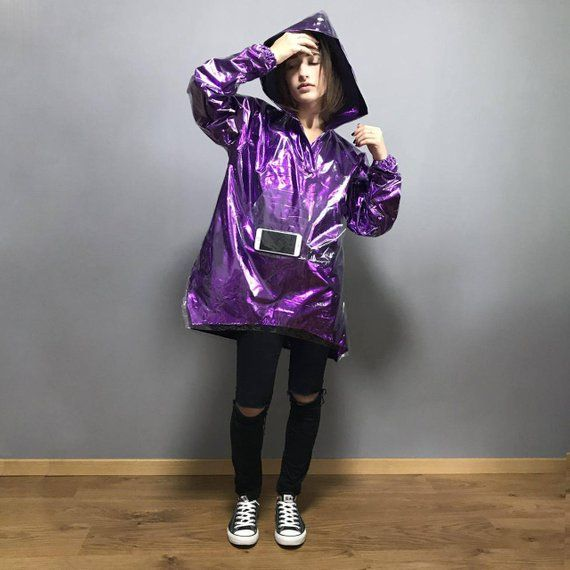 77a4ccd9f21 Shiny raincoat bright ultraviolet color with hood / hooded raincoat ...
