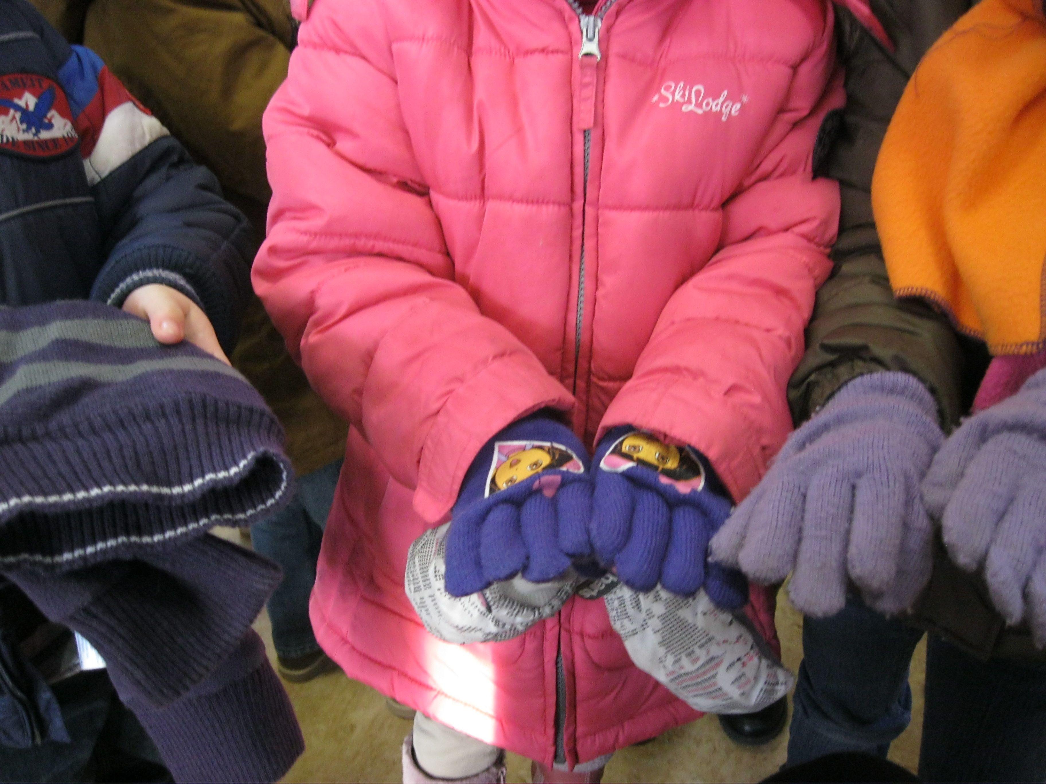 paarse handschoenen, de p van paars