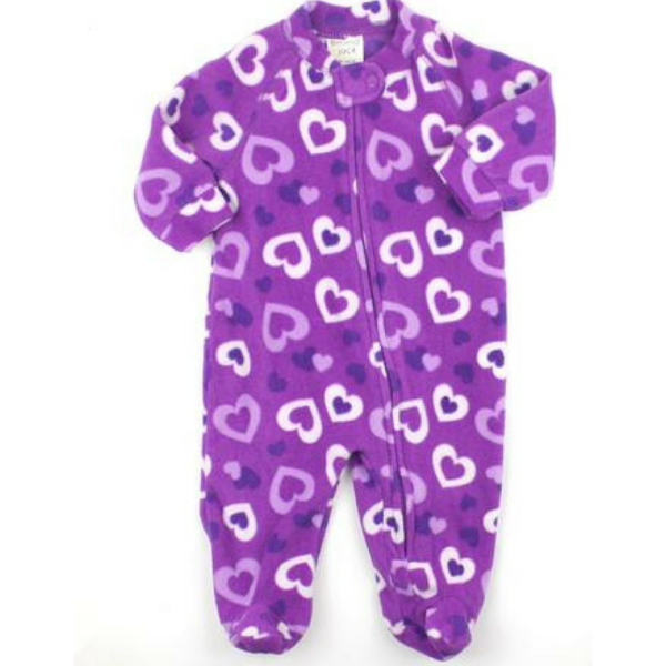 Infant Girls Purple Fleece Sleepers With Hearts By Emma Jack In Size 3 Months 4 25 Baby Sleepers Baby Clothes Online Baby Clothes