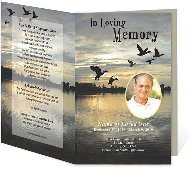 Funeral Bulletins Templates Outdoor Theme  Flight Preprinted - funeral flyer template