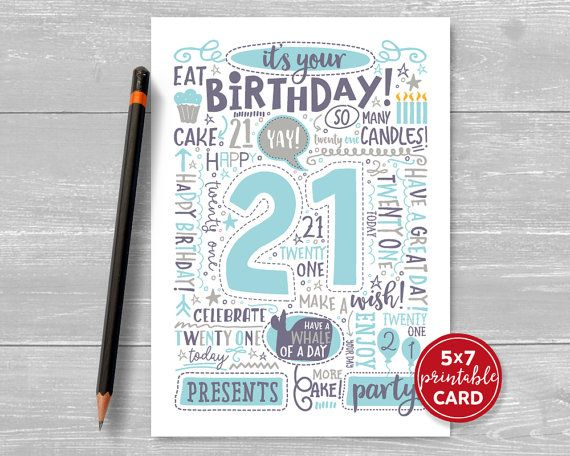 printable 21st birthday cards