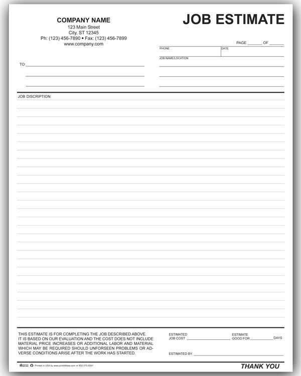 Write an Estimate Template - job quotation sample