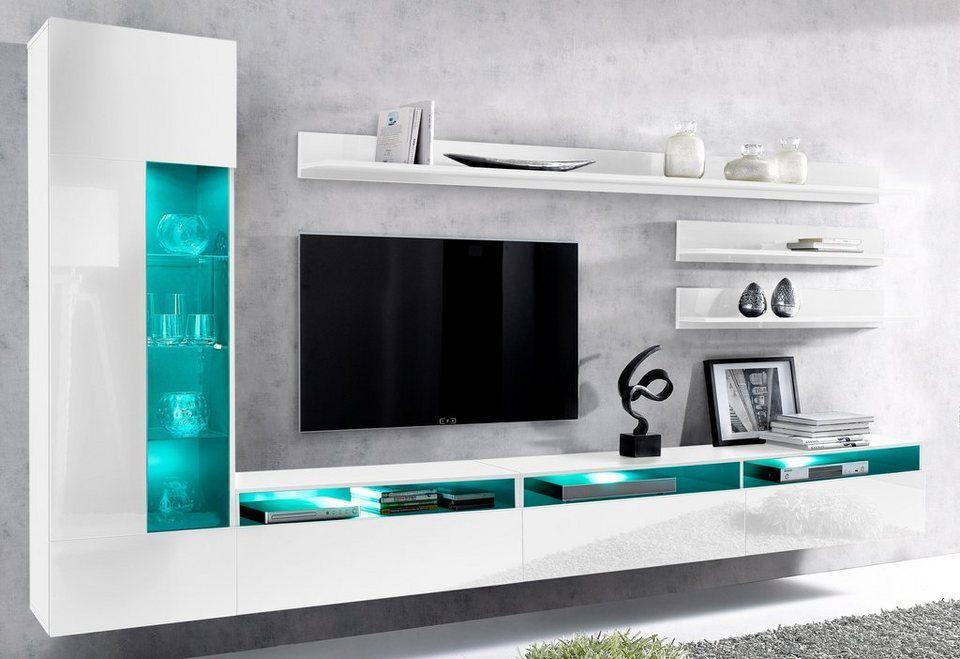 Billig wohnwand kaufen Deutsche Deko Pinterest - moderner wohnzimmerschrank mit glastüren und led beleuchtung