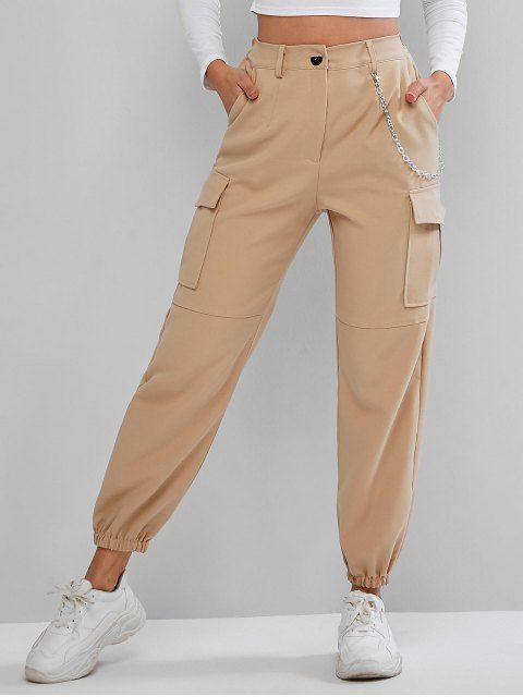 Pantalones Jogger De Cadena Con Bolsillos De Solapa Light Khaki Black Joggers Outfit Fashion Pants Jogger Pants Outfit