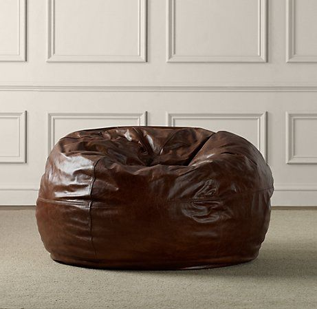 Restoration Hardware Leather Bean Bag Chair