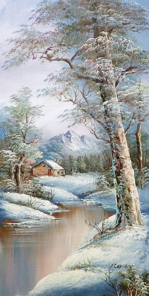 Winter landscape by Cafieri. Oil on canvas. | bidorbuy.co.za