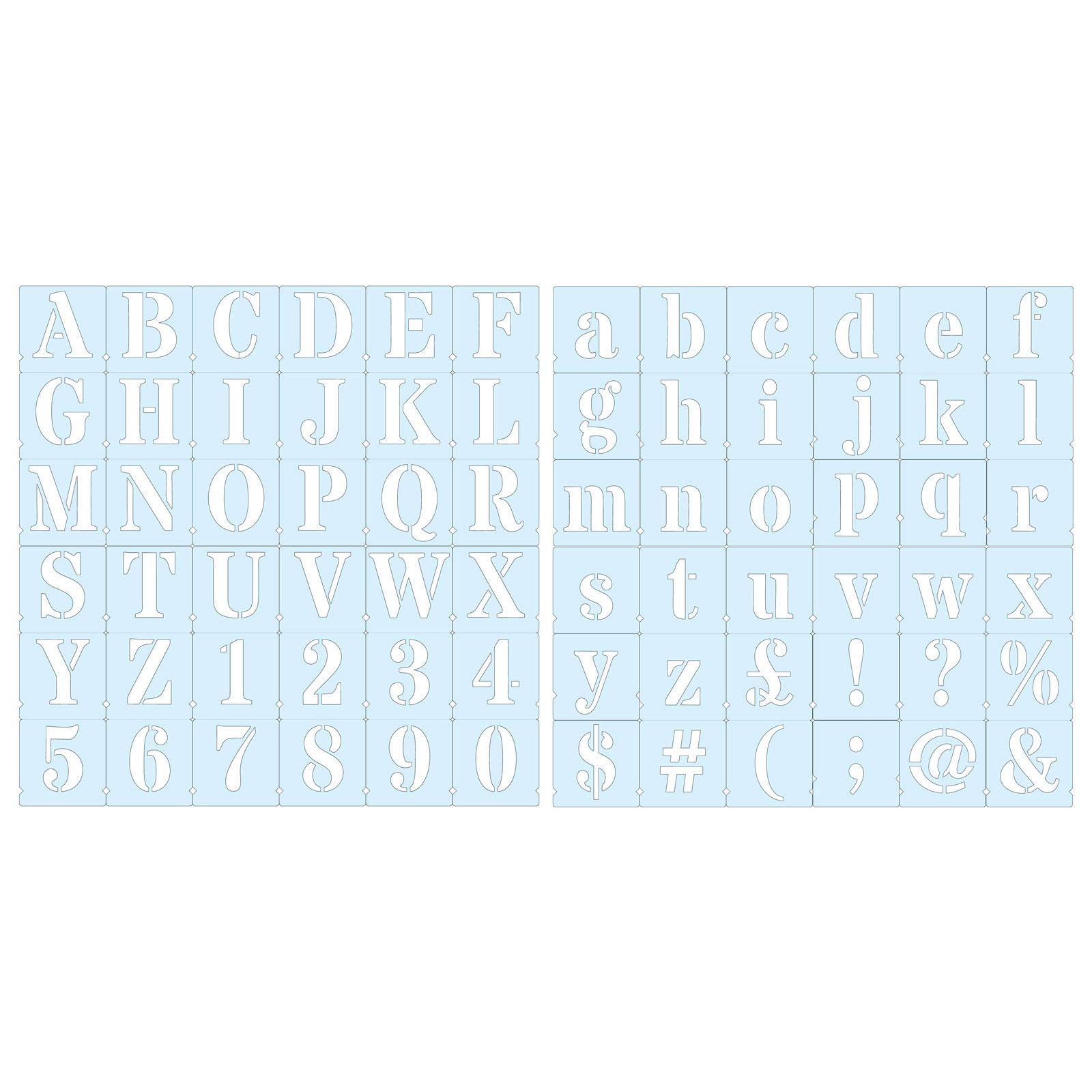 Roman Alphabet Numbers And Symbols On 72 Individual Stencils