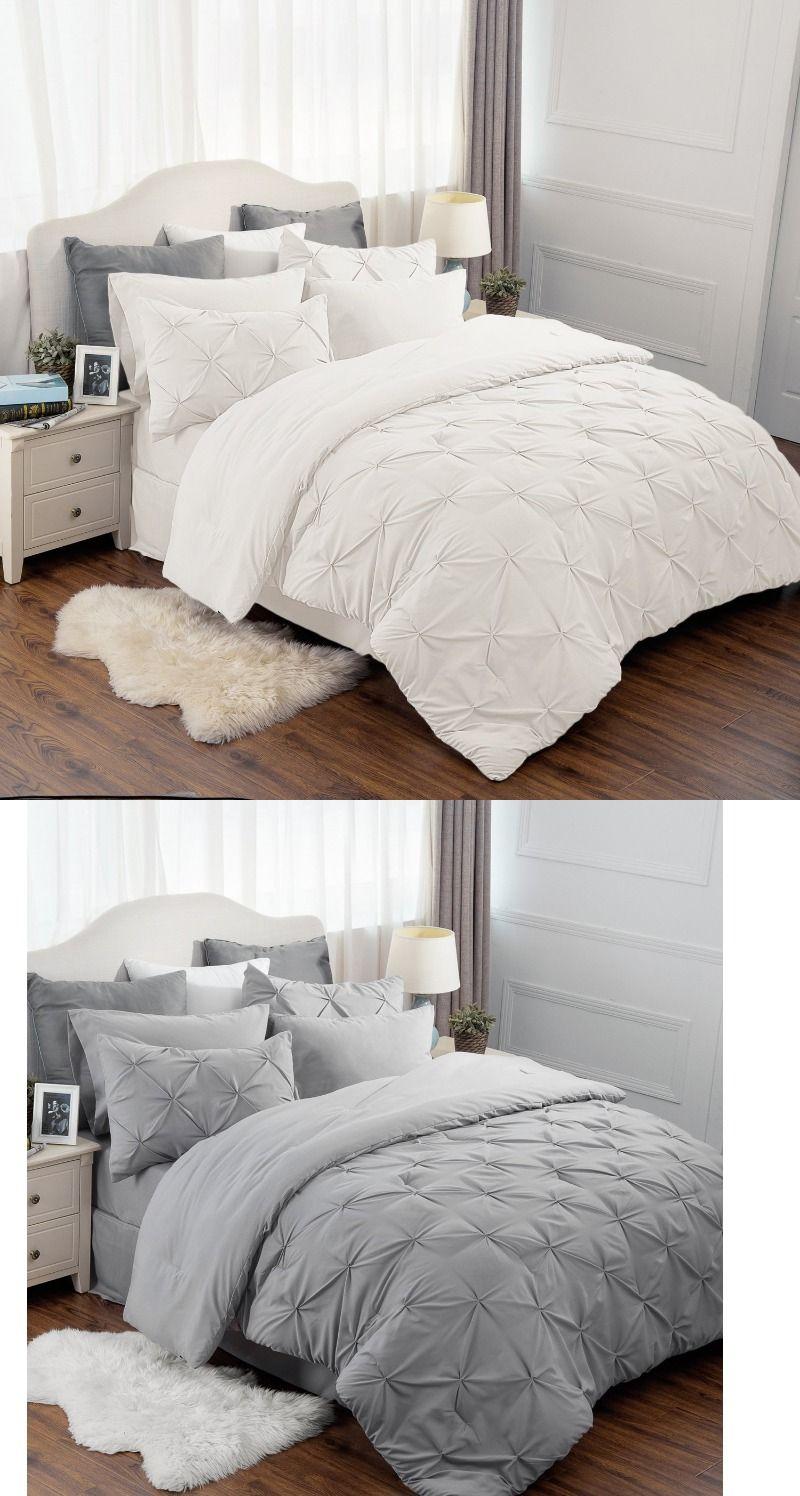 Bedsure 8 Pieces Pinch Pleat Down Alternative Comforter Set Bed In