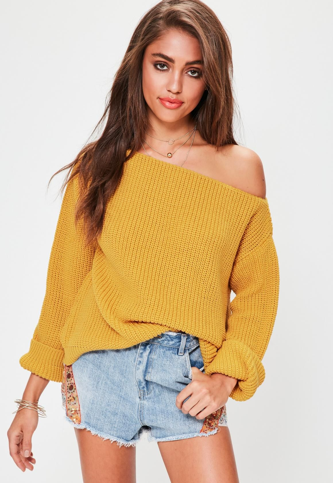 Missguided - Yellow Off Shoulder Knitted Jumper | fashion ...