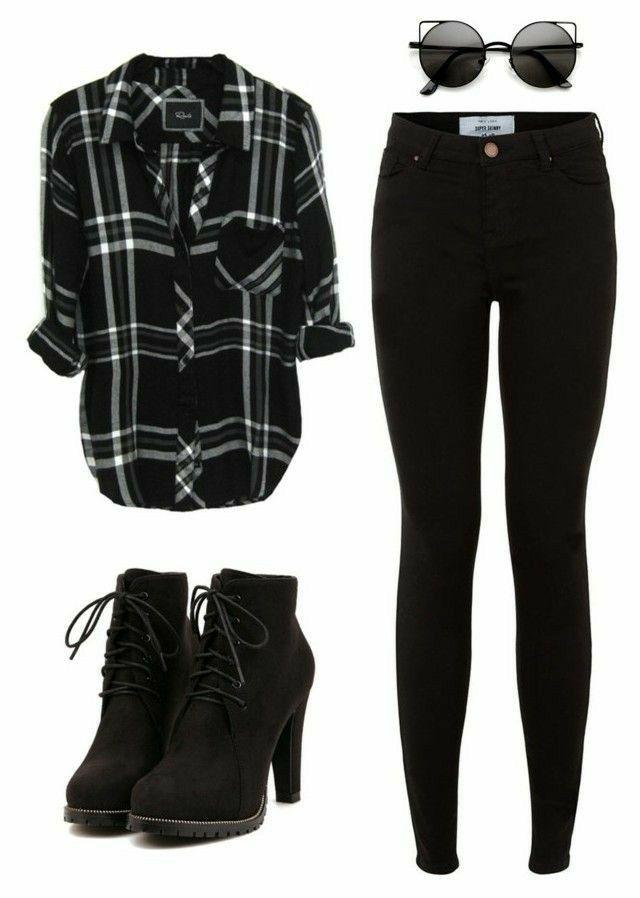Black Flannel Fashion #fallfashions #Black #Fall #Fashion #Flannel 1