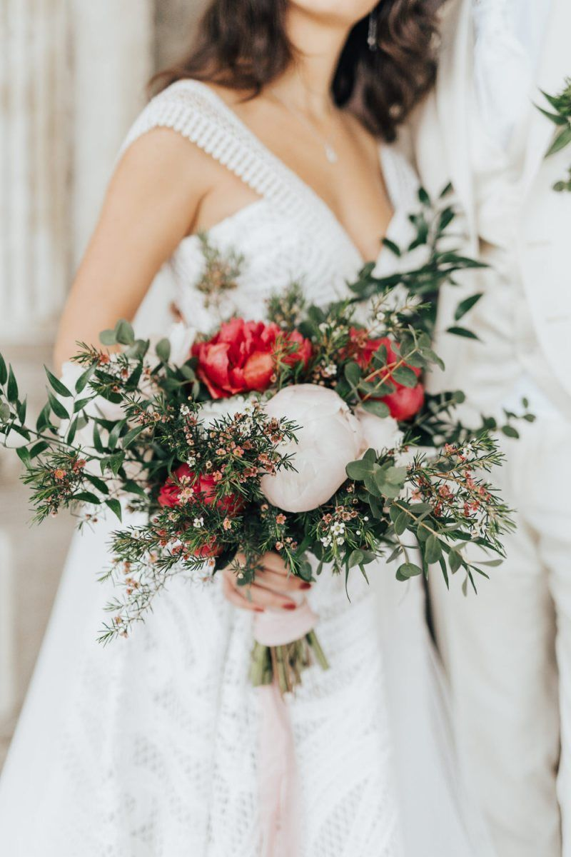 Red And White Peony Bouquet With Foliage In 2020 White Peonies