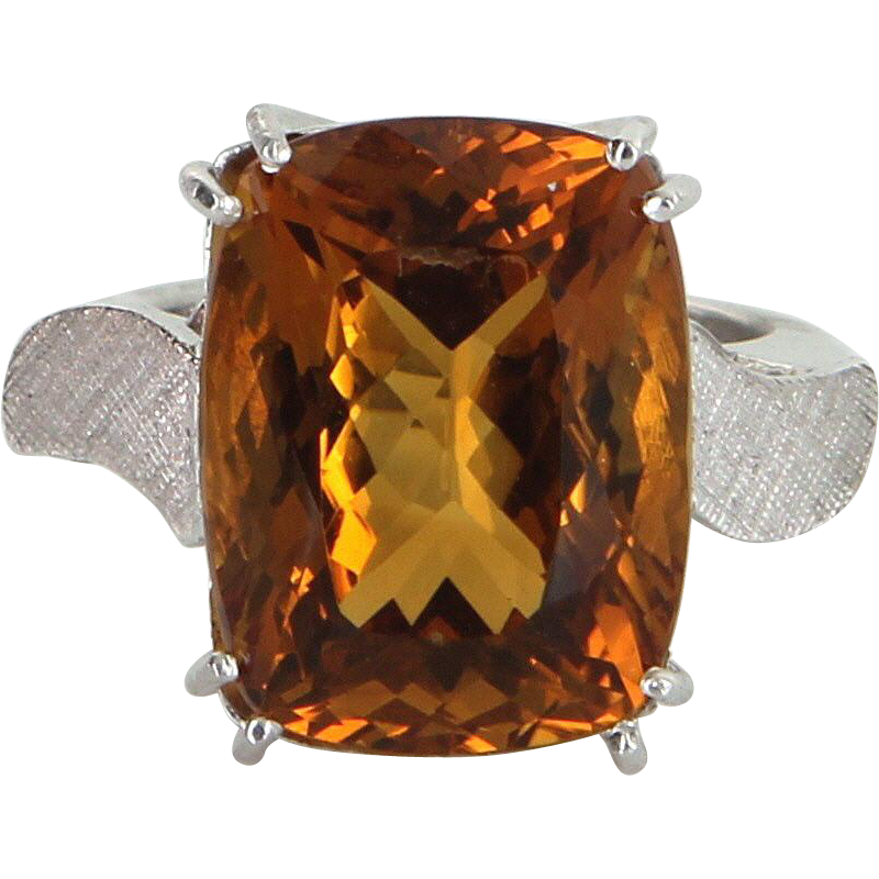 0bf0cc9905e Ruby Lane Red Tag 30% Off Sale! - Citrine Cocktail Ring Vintage 14 Karat  Gold 950 Platinum Arthritic Band Estate Jewelry