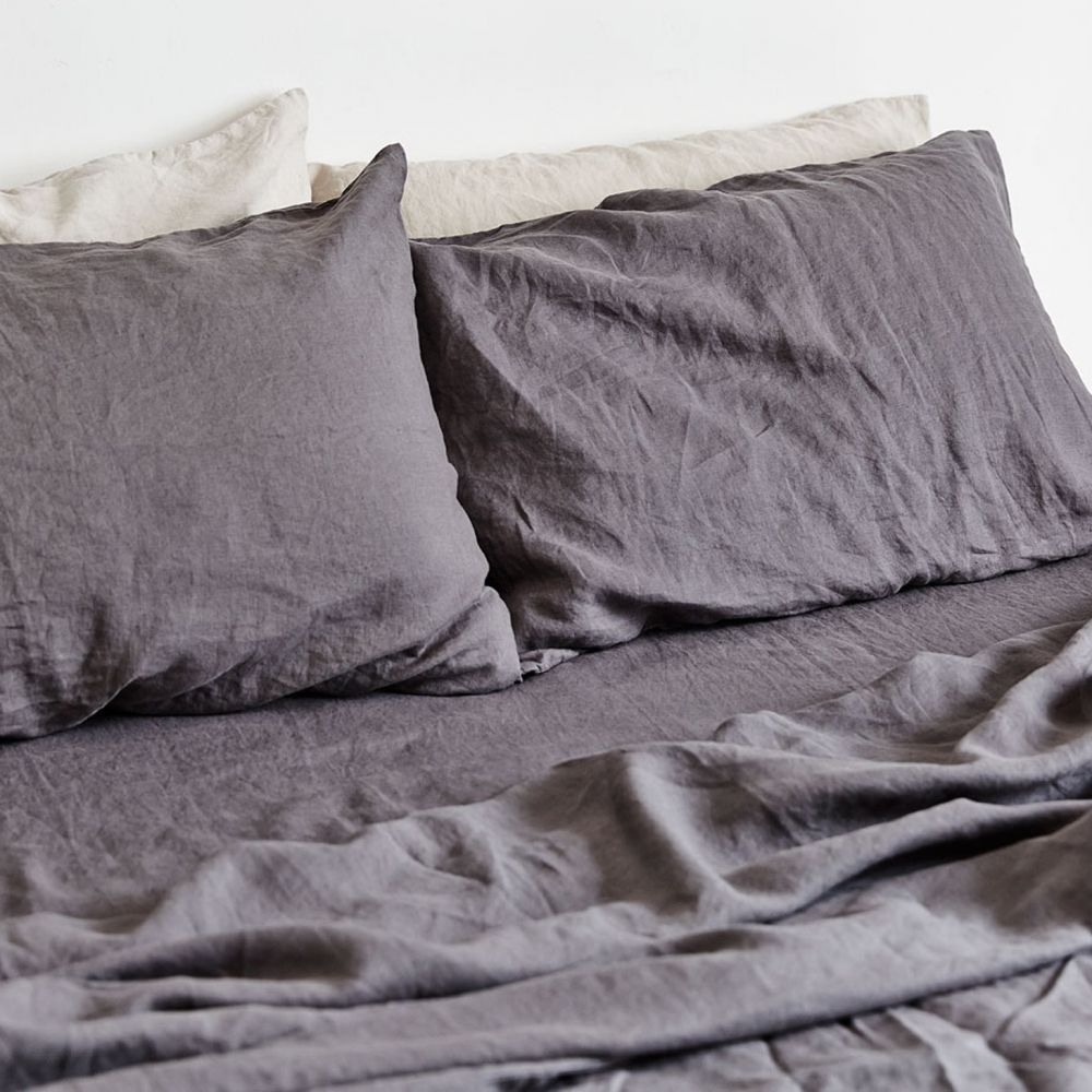 Charcoal fitted sheet 100 linen fitted sheet with