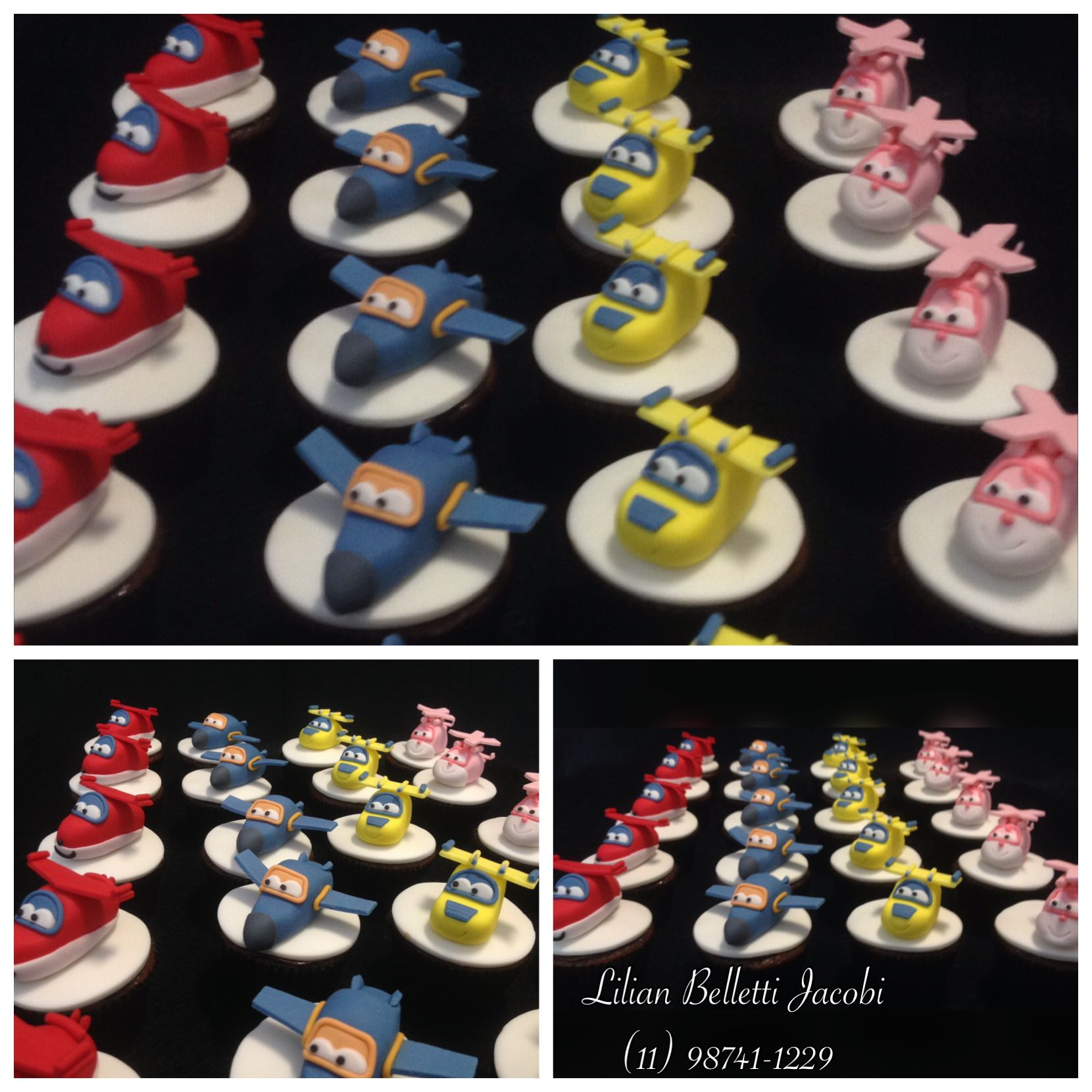 "Cupcakes com tema ""Super Wings""."