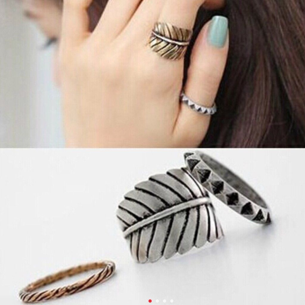 Boho Vintage Silver Leaf Ring Set - GlamVault