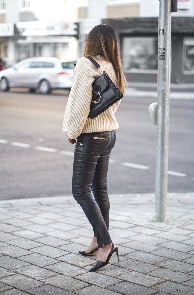www.streetstylecity.blogspot.com  Fashion inspired by the people in the street ootd look outfit sexy high heels legs woman girl leather knee otk thigh boots pants trousers leggings