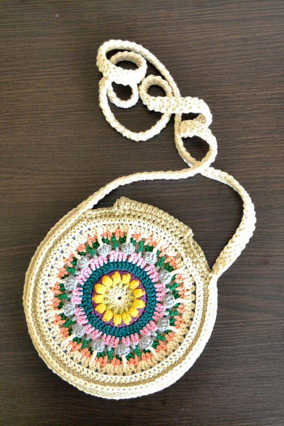 Crossbody Crochet Bag - Mandala Bag - Round Purse - Women\'s Crochet ...