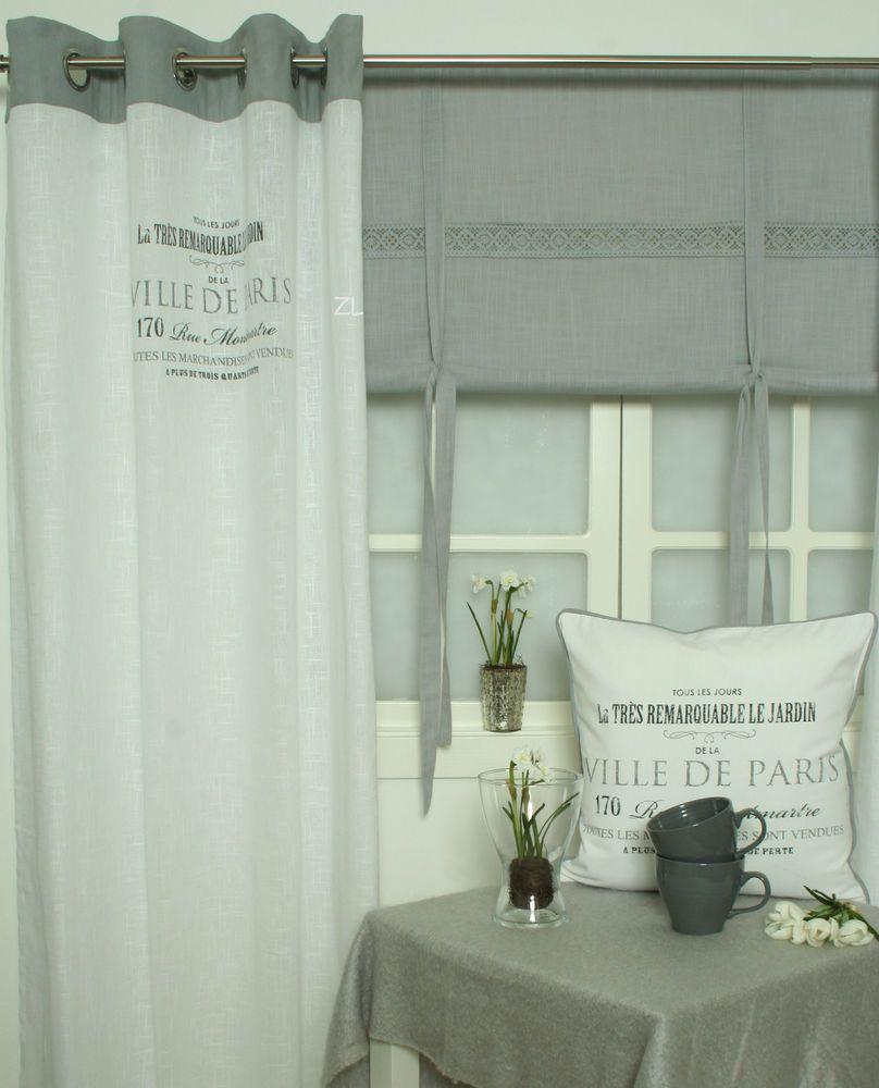 ville de paris vorhang gardine grau 120x240 2 st ck shabby chic vintage curtain gardinen. Black Bedroom Furniture Sets. Home Design Ideas