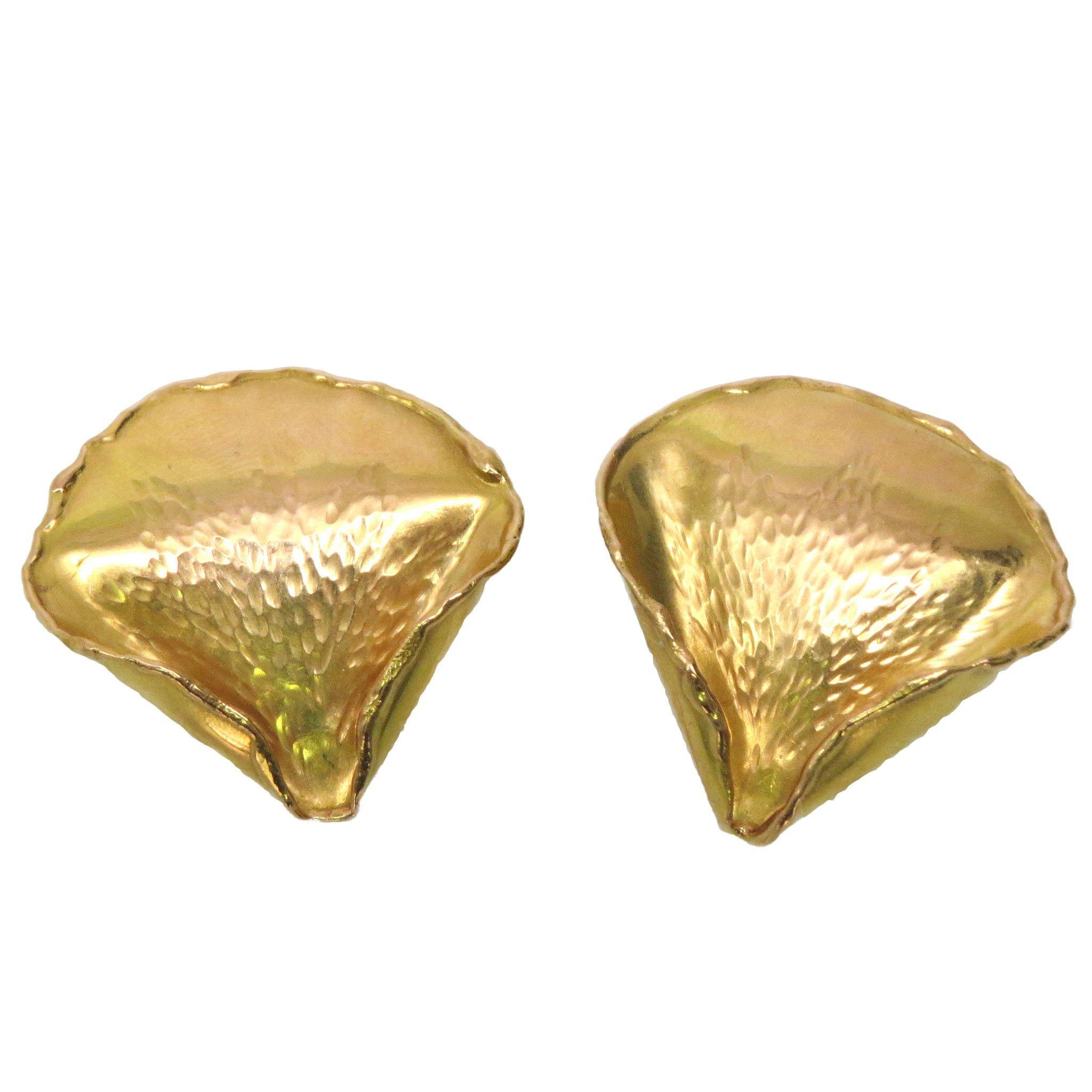 1970 s Tiffany & Co Angela Cummings Gold Rose Petal Earrings