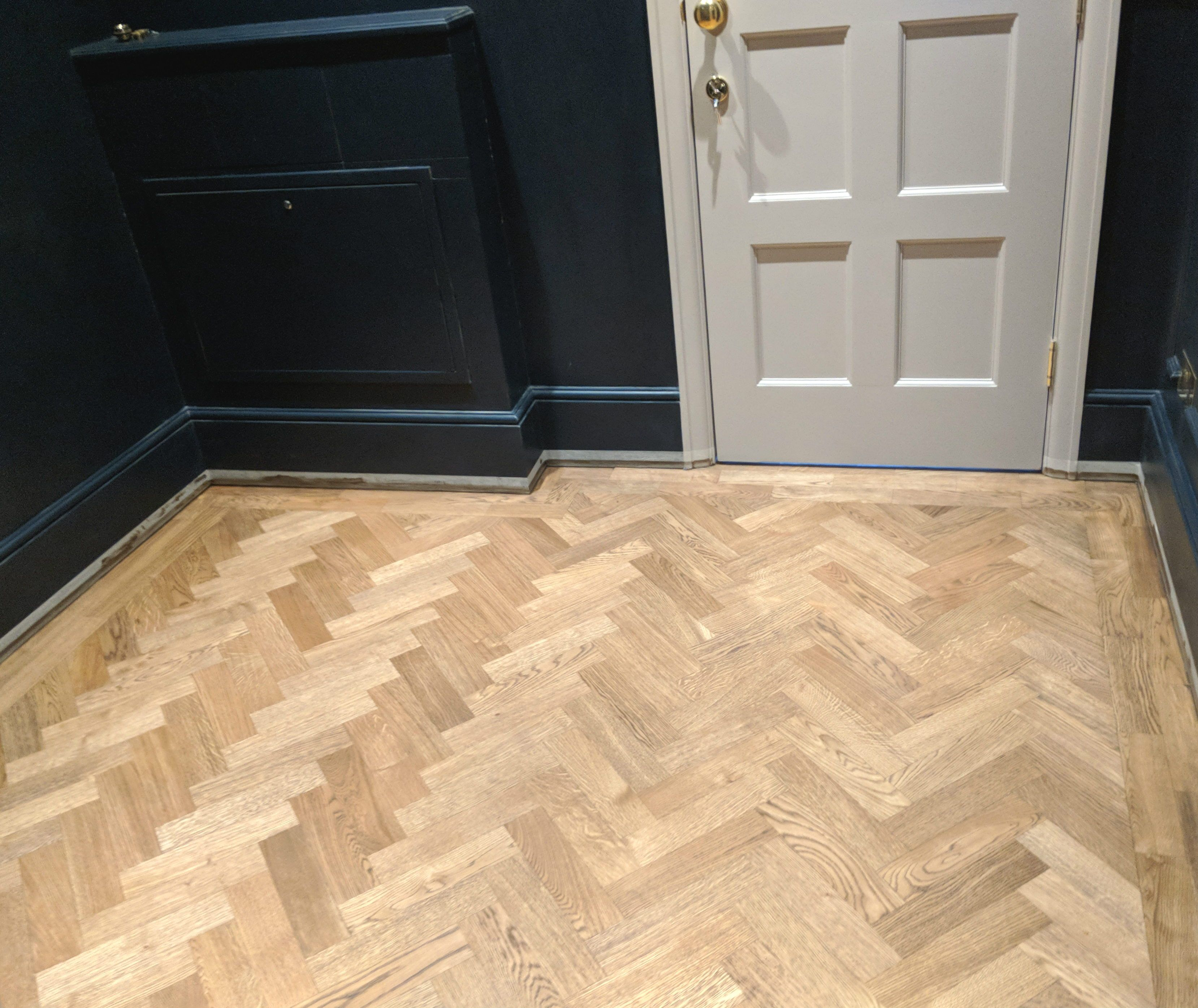 This Is Our Oak Parquet Flooring As Fitted By Fin Wood Ltd In A Cloakroom In A House In Surrey Wood Parquet Flooring Engineered Parquet Flooring Flooring