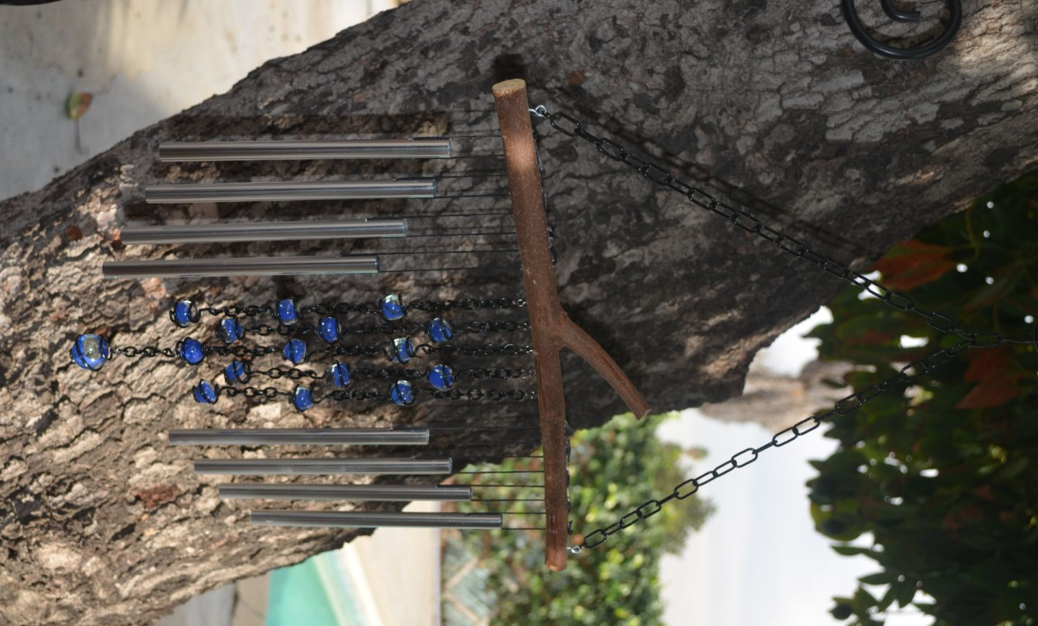 Outdoor Garden Decor Wind Chime Made With Recycled Tree Branch