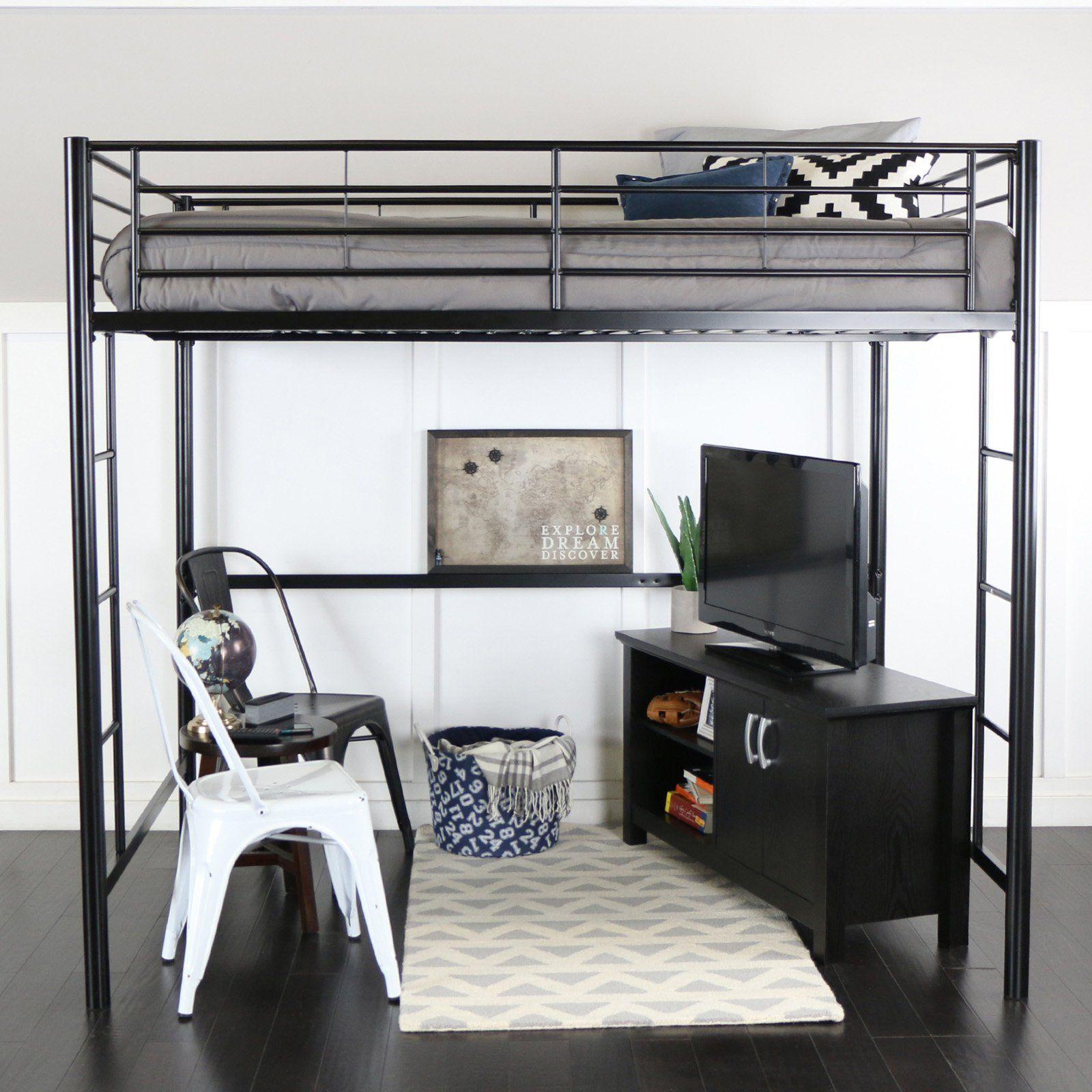 Walker Edison Full Metal Loft Bed Black Queen loft