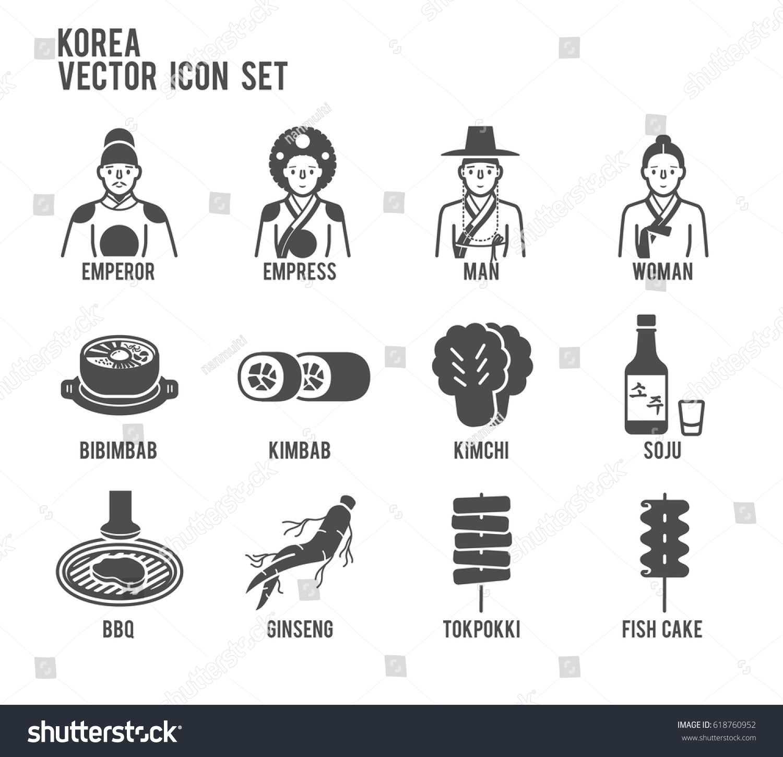 Korea People Korean Food Vector Icon Set. Included the