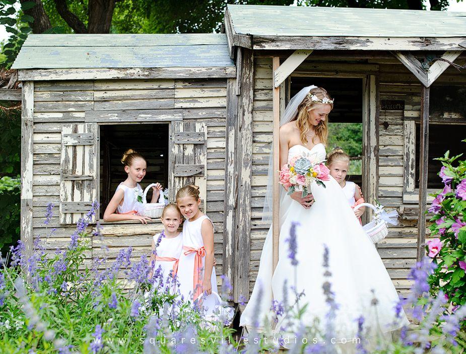 spring wedding with 4 cute flower girls