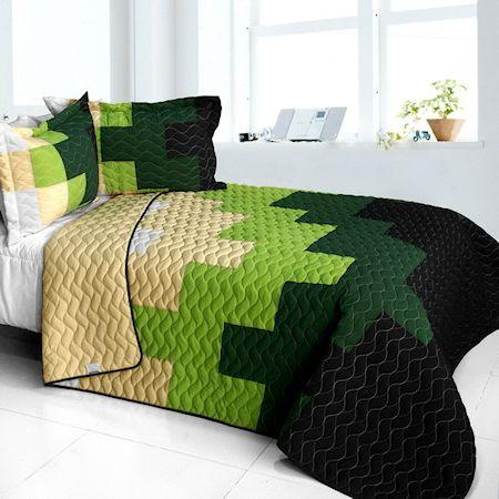 Minecraft Tree Bedding Green Black Full Queen Quilt Set