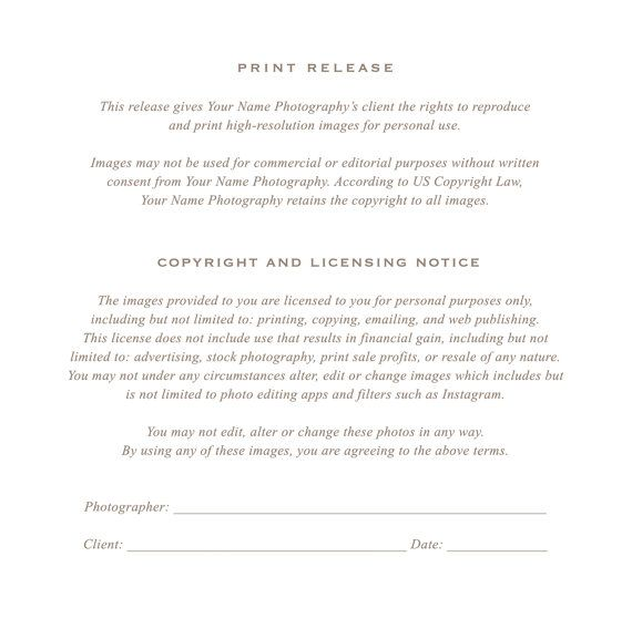 Photographer Print Release Template Photoshop Marketing Copyright Form For Wedding Photographers Digital Photoshop Files Photography Business Forms Photography Release Form Print Release